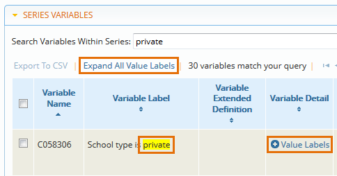 Expand series variable value labels