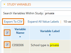 Export study variables