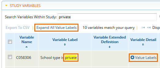 Expand study variable value labels